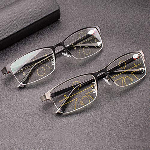 QQAA Progressive Reading Glasses Men??Double Focus is Available,Blu-ray-Proof Computer Glasses,with Glasses Case, Lightweight and Portable,Reduce Headaches&Eyestrain