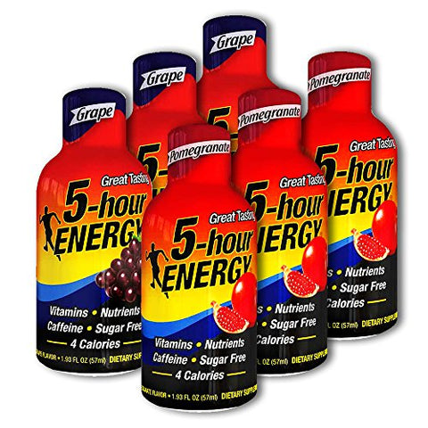 5 Hour Energy, 3 Grape + 3 Pomegranate, 6 Count