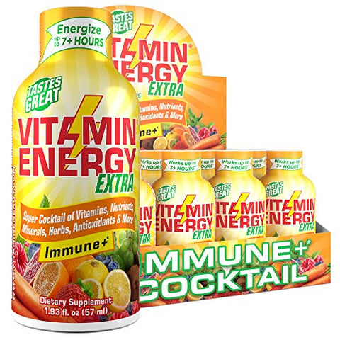 (24 Pack) VitaminEnergy Extra Immune+ Energy Shots, Last up to 7+ Hours. Citrus Energy Drink w/Vitamin Supplements Super Cocktail - Nutrients, Minerals, Herbs, Antioxidants Keto Drink, 1.93 fl oz ea