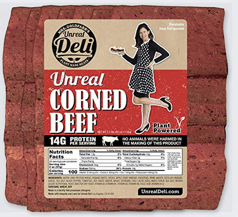 Unreal Corned Beef, Thin-sliced, Plant-based Corned Beef, 100% Vegan (10 Pounds)
