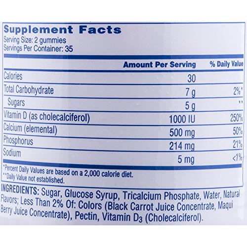 Citracal Calcium Gummies With 1000 IU Vitamin D3 Per Serving, Bone Health Supplement for Adults, Natural Flavor Blueberry, Strawberry and Watermelon Chewables, 70 Count