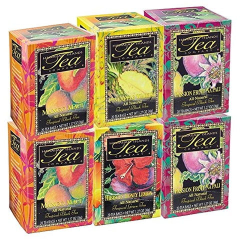 Hawaiian Islands Tea, Favorite Teas Six Box Collection (Six 1.27 Oz. Boxes with 20 Tea Bags Per Box)