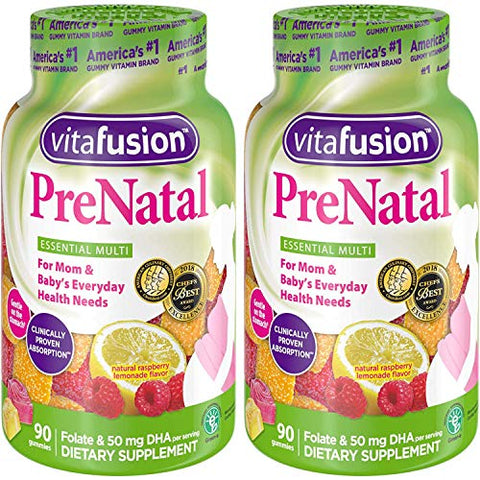 Vitafusion Pre Natal Gummy Vitamins; Lemon & Raspberry Lemonade Flavors 90 Each (2 pack)