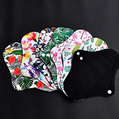 7pc Set Including 6PC Heavy Flow Feminine Hygiene Bamboo Charcoal Menstrual Cloth Pads Sanitary Pads Mama Pads + 1PC Mini Wet Bag