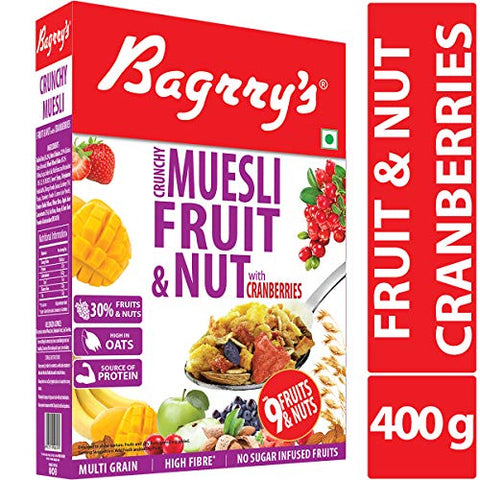 Bagrry's Crunchy Muesli Fruit and Nut with Cranberries 400 Gm (14.10 Oz)