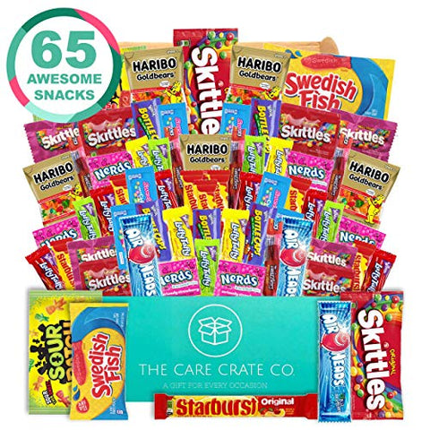 The Care Crate Ultimate Candy Snack Box Care Package ( 65 piece Candy and Snack Pack ) Includes 10 Full Size Candies - Starburst, Skittles, Twizzlers & More!