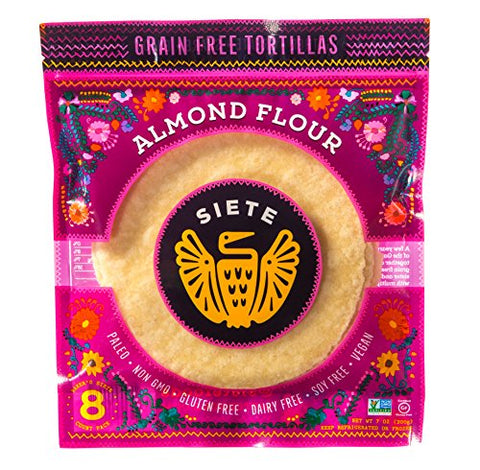 Siete Almond Flour & Cassava Flour Mix Pack, 8 Tortillas Per Pack, 3 Packs Each, 48 Tortillas