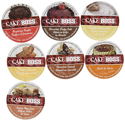 20 Cup Cake Boss FLAVORED ONLY Coffee Sampler! 7 New Delicious Flavors! NO DECAF! Chocolate Cannoli, Italian Rum Cake, Raspberry Truffle, Dulce De Leche (caramel) + So Delicious!