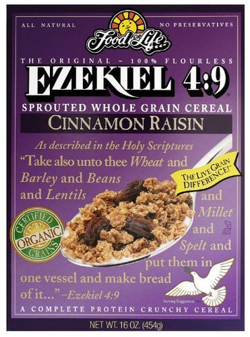 Food For Life Ezekiel 4:9 - OrganicCinnamon Raisin Granola Cereal, Vegan, 16 oz (Pack of 4) by Ezekiel