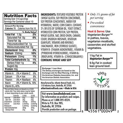 Loma Linda - Plant-Based - Vegetarian Burger (20 oz.) (Pack of 6) - Kosher