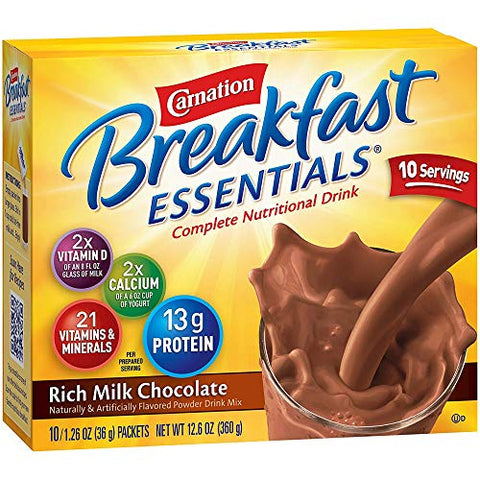 Carnation Breakfast Essentials Rich Milk Chocolate Flavor Powder 36 Gram Container Individual Packet, Nestle Healthcare Nutrition, 11004656 - Box of 10