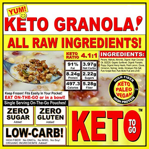 KETO GRANOLA! The Ultimate KETOGENIC LOW CARB GLUTEN FREE NO SUGARS ADDED Breakfast Cereal or on-the-go snack In Single Serving Generous Pouches! ON THE GO! By KETO TO GO! 5-Pak ~5 Keto Meals