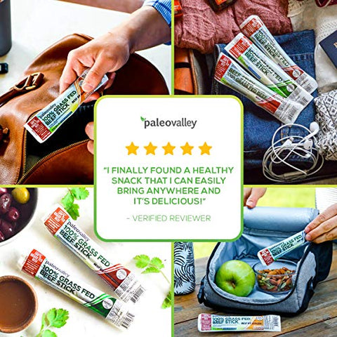 Paleovalley: 100% Grass Fed Beef Sticks (40 Count) - 10 of Each Flavor - 100% Grass-Fed/Finished Beef - Paleo-Friendly - NON GMO - No Gluten or Soy