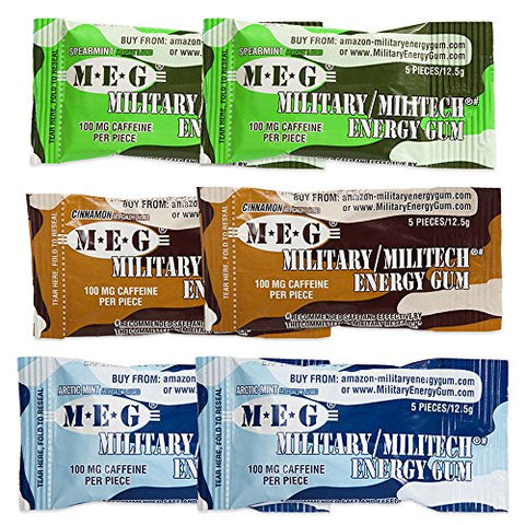 MEG - Military Energy Gum | 100mg of Caffeine Per Piece + Increase Energy + Boost Physical Performance + Multi Flavors of Arctic Mint , Spearmint, & Cinnamon + 6 Packs (30 Count)