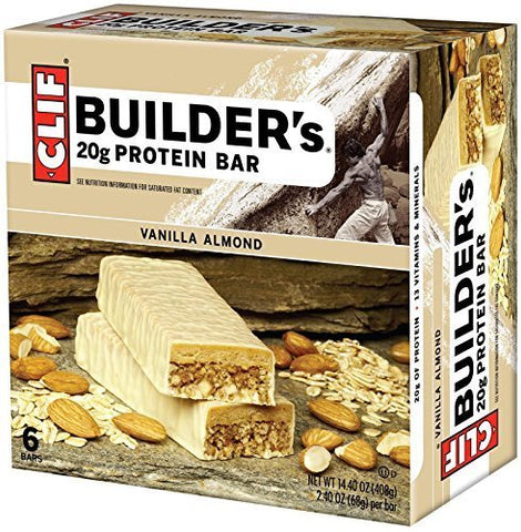 Clif Builder's Vanilla Almond Protein Bars, 1 Box with 6 Bars Inside by Clif