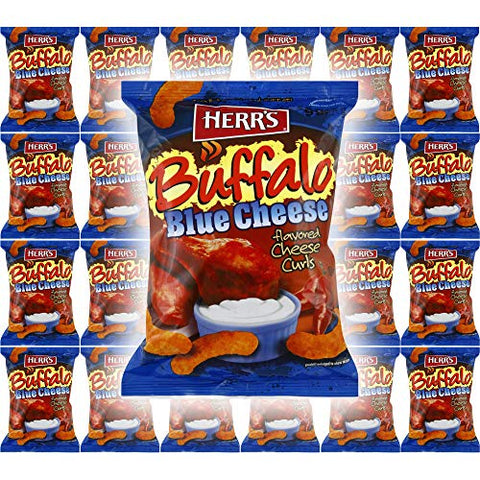HERR'S Buffalo Blue Cheese Flavored Cheese Curls, Gluten-Free, 1oz Bag (Pack of 24, Total of 24 Oz) (Buffalo Blue Cheese Curls, 24-Pack)