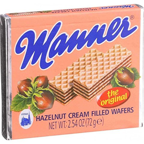 Manner Wafers Hazelnut Cream Filled Wafers, 2.54-Ounce (Pack of 12)