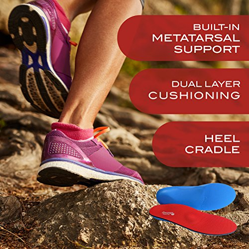 Powerstep Pinnacle Plus Orthotic Inserts, Red/Blue, Men's 10 10.5, Women's 12