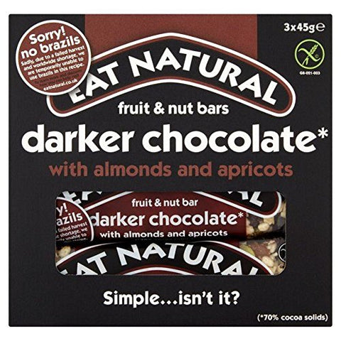 Eat Natural Bars Dark 70 % Chocolate Almonds & Apricots - 3 x 45g