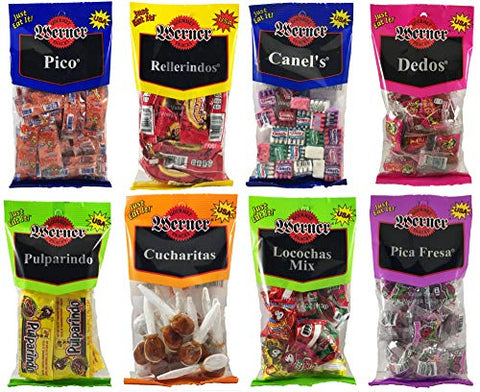 MEXICAN CANDY Variety Bundle of 8 Candies - Pico, Rellerindos, Canel's, Dedos, Pulparindo, Cucharitas, Locochas, and Pica Fresa