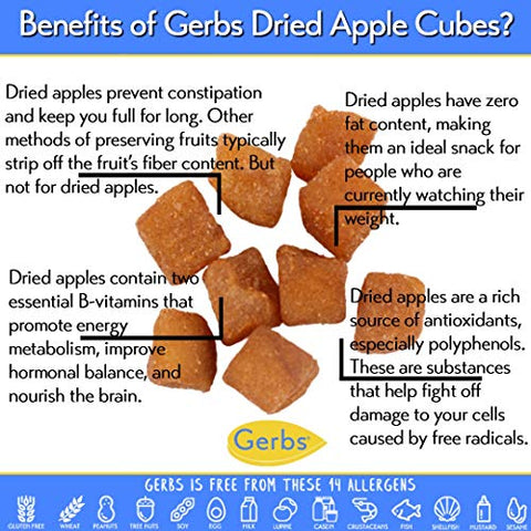 GERBS Dried Cinnamon Apple Cubes, 64 ounce Bag, Unsulfured, Preservative, Top 14 Food Allergy Free