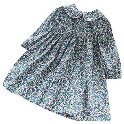 heavKin-Clothes 1-6Years Baby Girls Princess Dress Children's Sweet Western Doll Collar Floral Skirts (Blue, 5-6 Years)