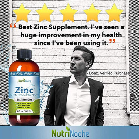 NutriNoche Liquid Zinc - Best Zinc Supplement - Colloidal Minerals - 30 PPM - Highly Absorbable Zinc Supplement (8 Ounces)