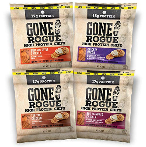 Gone Rogue High Protein Chips, Low Carb, Gluten Free, Keto Friendly Snacks - Variety Pack, 8 pack, 4 Flavors: Chicken Bacon, Buffalo Style Chicken, Teriyaki Chicken & BBQ Chicken