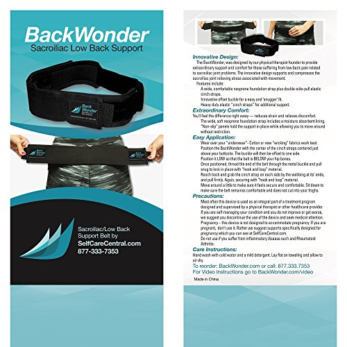 Back Wonder Si Joint Belt By Gnr â?? Sacroiliac Belt Supports Pelvis, Lower Back, Reduces Sciatica Ne