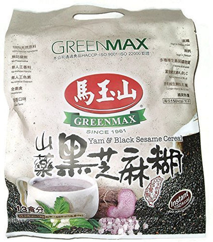 Greenmax Yam & Black Sesame Instant Cereal (13 Servings, 16 Oz.) Single Pack
