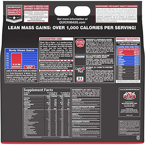 ALLMAX Nutrition QuickMass Rapid Mass Gain Catalyst, Cookies & Cream, 12 Pound