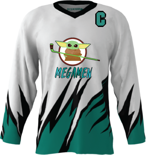 Official Megamen Hockey Jersey (White Custom)