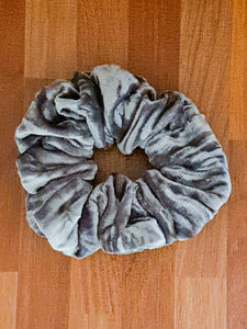 Steel Grey Velvet Scrunchie