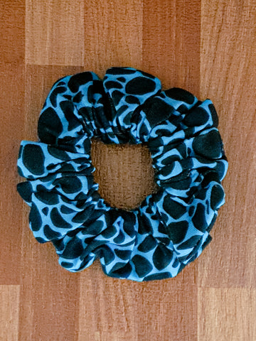 Blue Animal Print Scrunchie