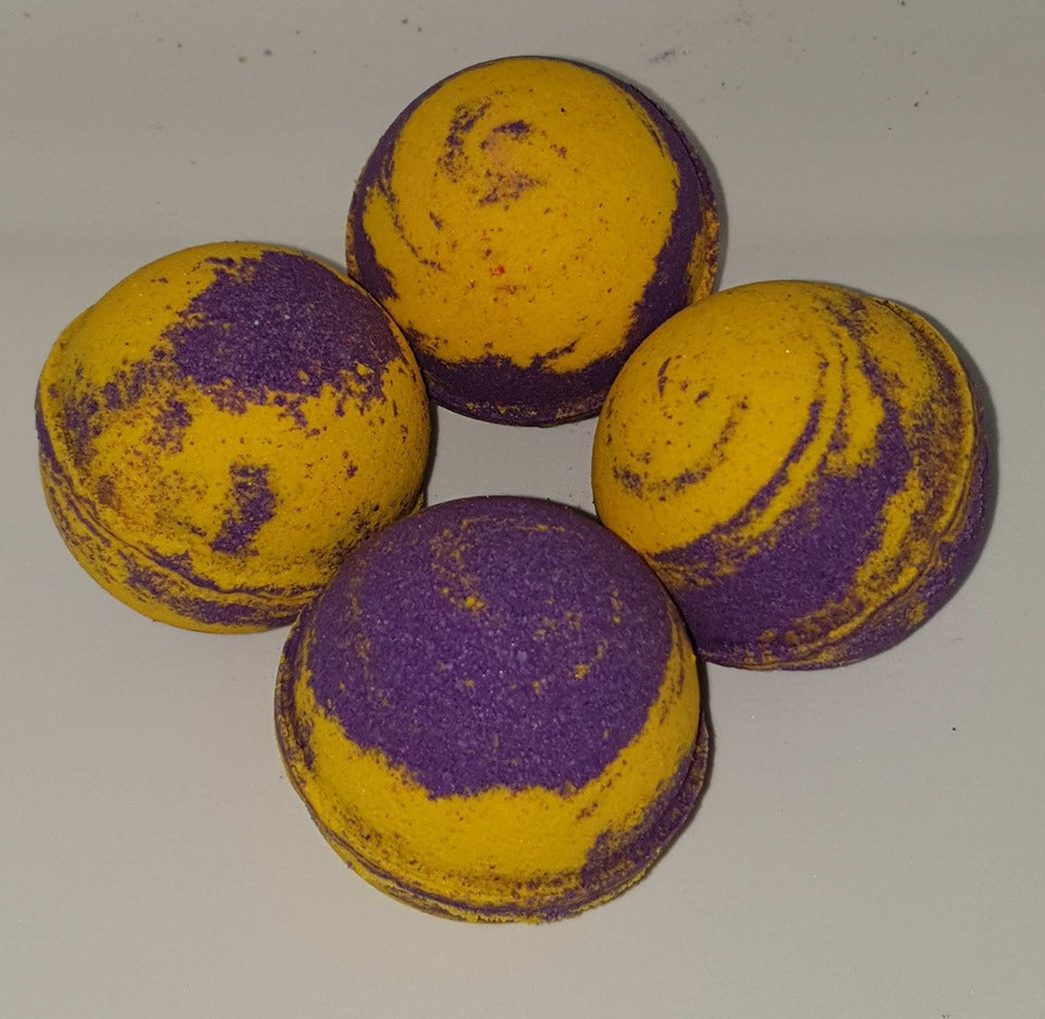Purple & Yellow Swirl Bath Bombs- Monkey Farts Scented