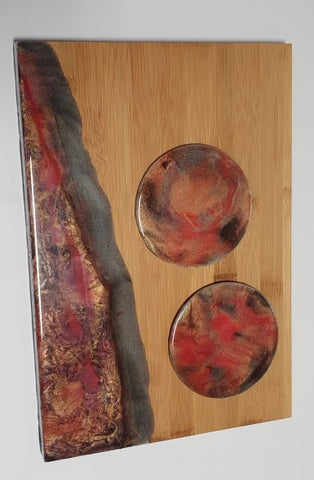 Resin Serving Board + 2 Matching Coasters