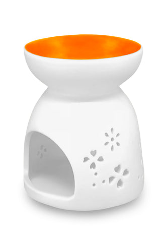 White Oil Burner with Orange Dish 9cm