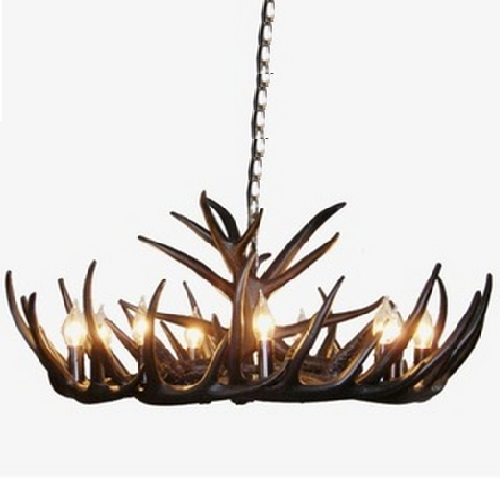 Elvira 9 Light Black Antler Chandelier