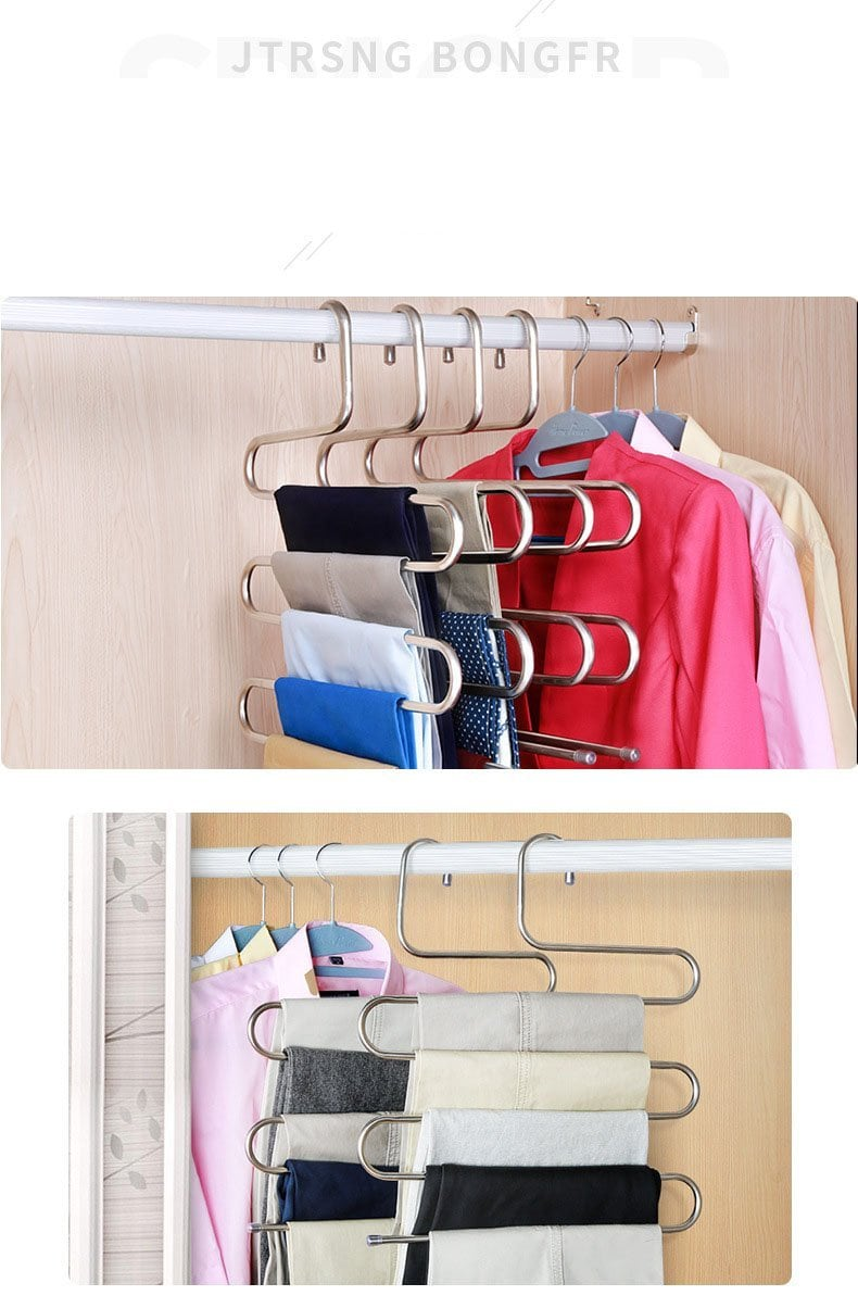 5 layers Stainless Steel Clothes Hangers S Shape - goshopship
