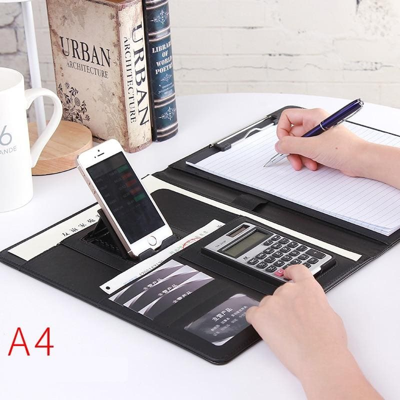A4 PU Leather Folder Padfolio with Calculator/ Pen Slot/ Card Holders/ Document Folder/ Paper Pad - goshopship