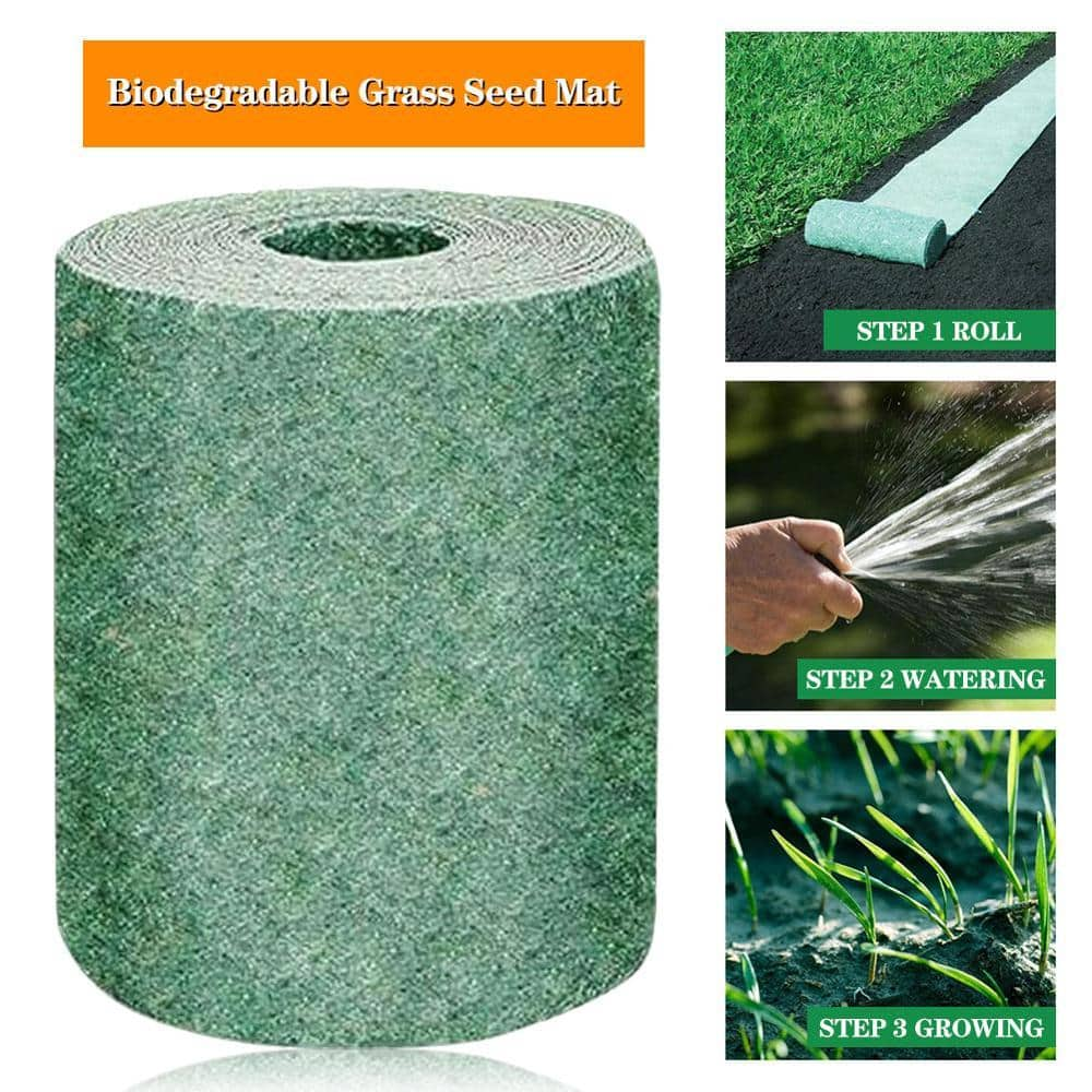 Biodegradable Grass Seed Mat Seed Starter Mat 3M × 0.2M Grass Seed Carpet Seed Starter Mat Garden Supplies Just Roll Water & Grow -Not Fake or Artificial Grass - goshopship