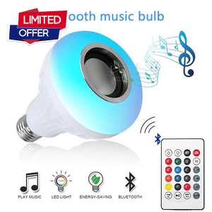 Smart E27 12W Ampoule LED Bulb RGB Light Wireless Bluetooth Audio Speaker Music Playing Remote Control - goshopship