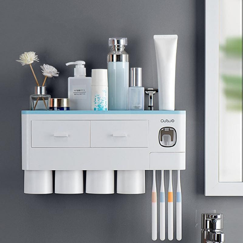 Newest 2020 Toothbrush Holder - Toothpaste Squeezer - Storage Shelf Set - Magnetic Adsorption With Cups Holder - goshopship