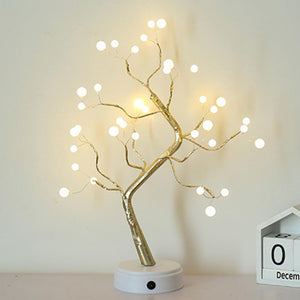 Night Light Home Decoration Bonsai Style Party Cherry Tree Shape LED Light DIY Firework Christmas Gift Plants Switch Copper