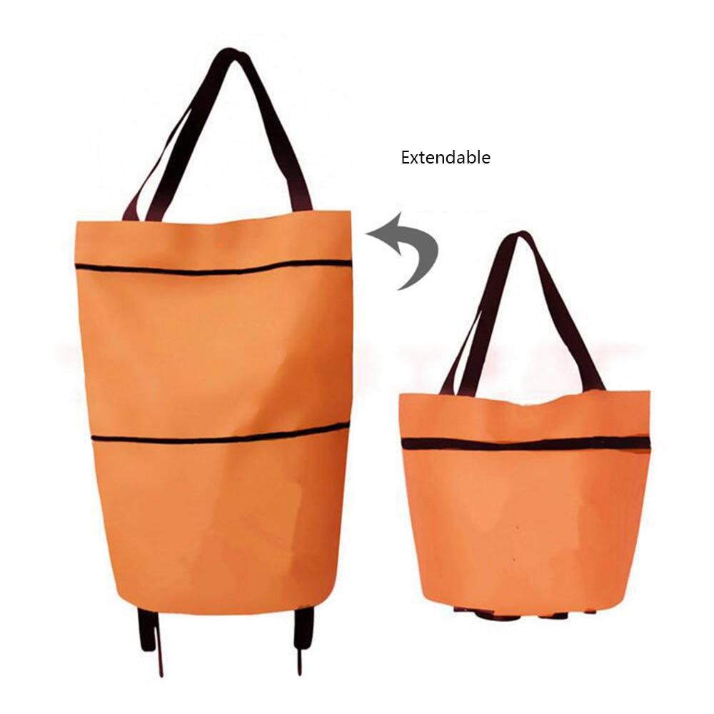 Portable Foldable Shopping Trolley Bag with Wheels Rolling