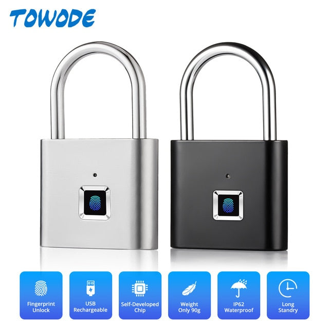 One Touch Unlock Portable USB Rechargeable Anti Theft Zinc Alloy Lock