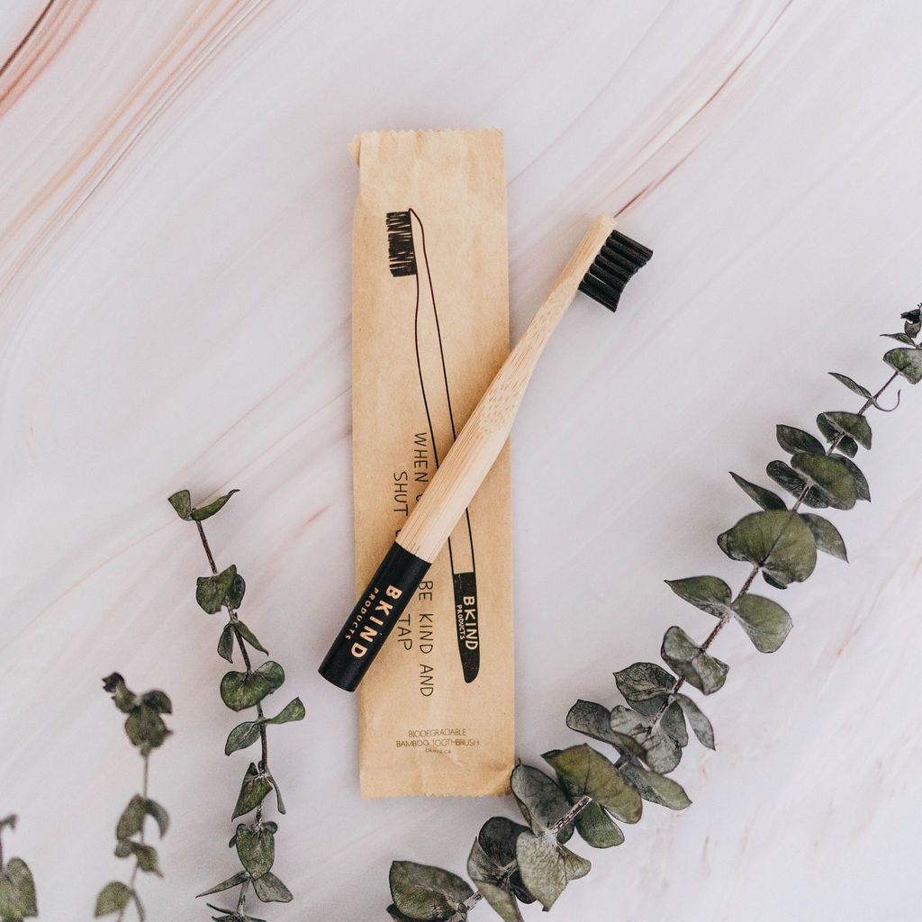biodegradable bamboo toothbrush for kids - charcoal