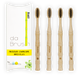 Charcoal Bamboo Toothbrush Set | Medium Hardness | Adult Size (Set of 4)