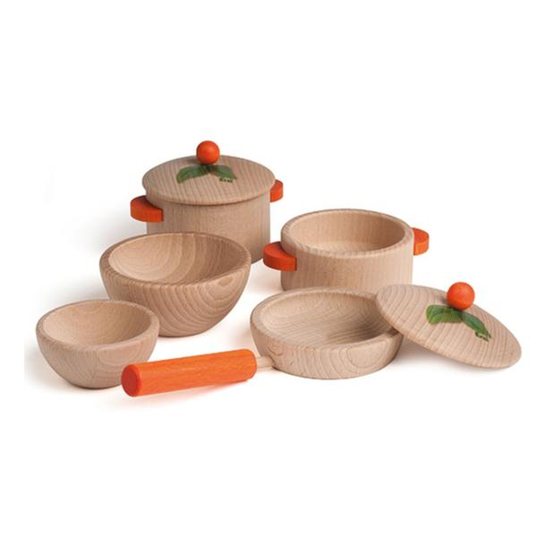 natural wooden toy cooking set for children