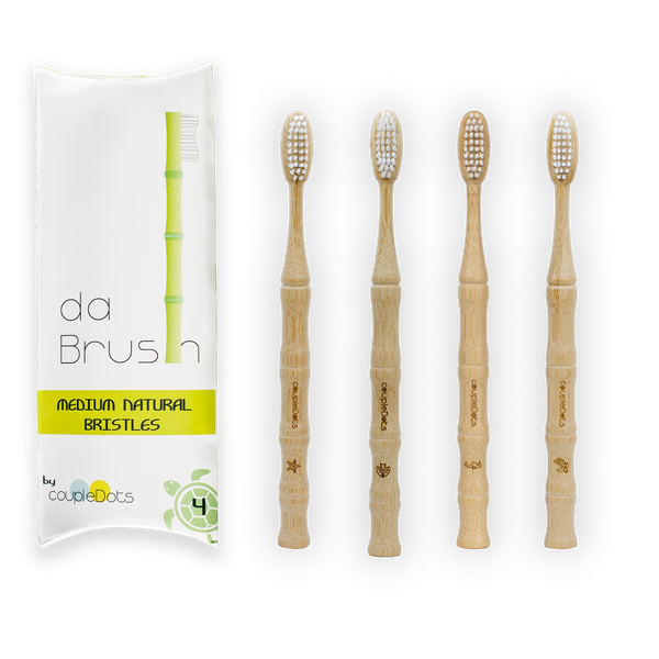 Natural Bamboo Toothbrush Set | Medium Hardness | Adult Size (Set of 4) - EcoFreax | Think Bigger.